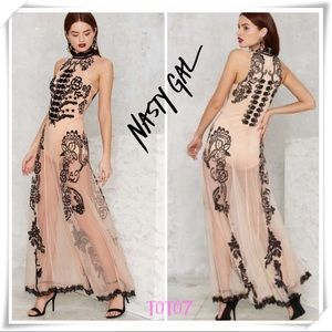Nasty Gal Pink Say My Name Embroidered Maxi Dress